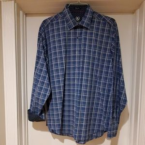 Blue & white checked button down